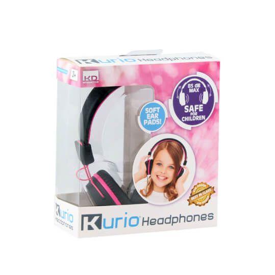 Roze kurio hoofdtelefoon in verpakking