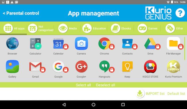 App management kurio tablet