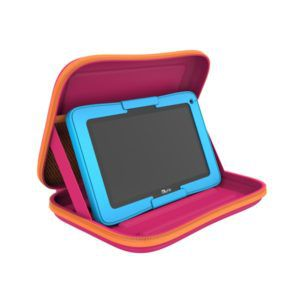 Roze kurio reiskoffer met blauwe tablet